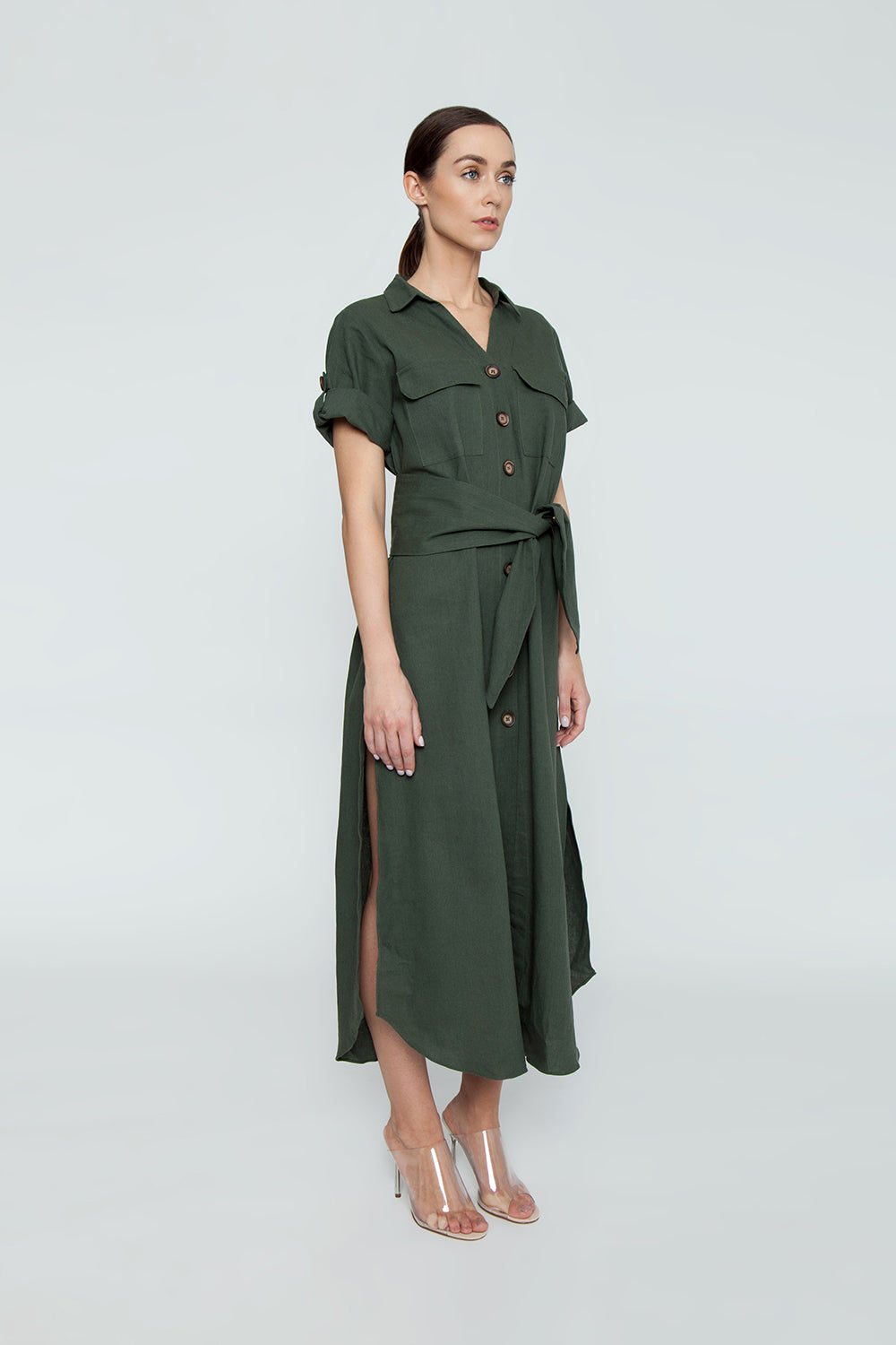 TRIYA Button Up Collared Maxi Dress - Military Green Dress | Military Green| Triya Button Up Collared Maxi Dress - Military Green Collared maxi dress Short sleeves Button up front closure Side View