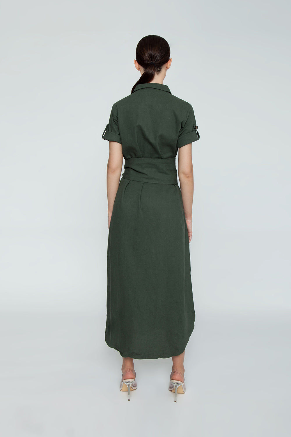 TRIYA Button Up Collared Maxi Dress - Military Green Dress | Military Green| Triya Button Up Dress - Military Green Collared maxi dress Short sleeves Button up front closure Back View