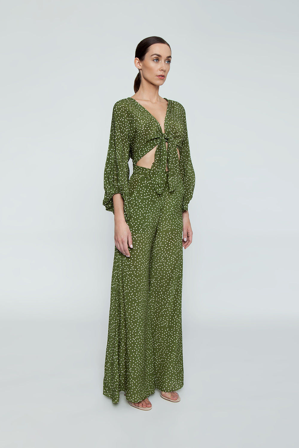 ADRIANA DEGREAS Silk Crepe De Chine Wide Leg Pants - Mille Punti Green Dot Print Pants | Mille Punti Green Dot Print| Adriana Degreas Silk Crepe De Chine Wide Leg Pants - Green Dot Print. Features:  High waisted wide leg pants Perfect for summer days Cut from airy silk Main: 100% silk Side View