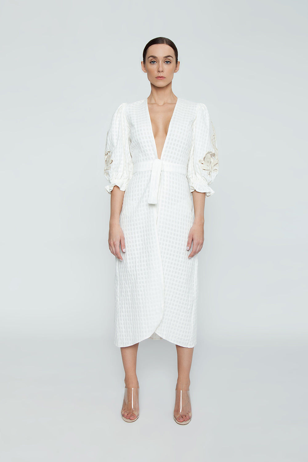 ADRIANA DEGREAS Cotton Embroidery Long Robe Cover-Up - Off White Cover Up | Off White| Adriana Degreas Embroidery Long Robe - Off White Long sleeve robe Plunging neckline Embroidered long sleeve detail  Front tie detail  Front View