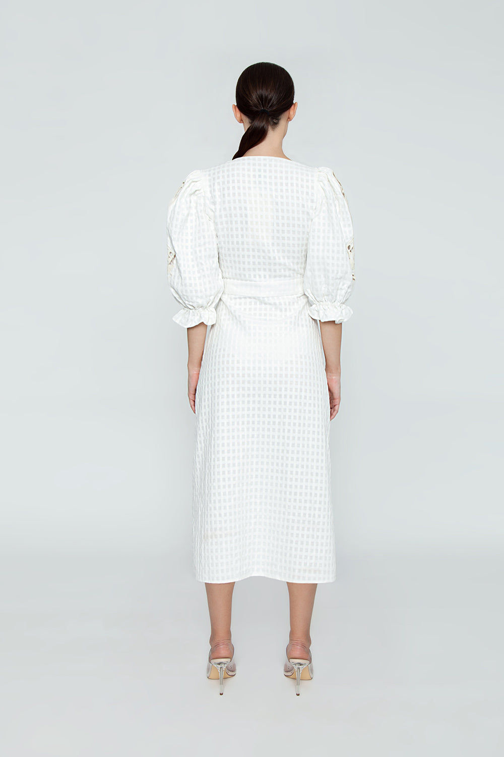 ADRIANA DEGREAS Cotton Embroidery Long Robe Cover-Up - Off White Cover Up | Off White| Adriana Degreas Embroidery Long Robe - Off White Long sleeve robe Plunging neckline Embroidered long sleeve detail  Front tie detail  Back View
