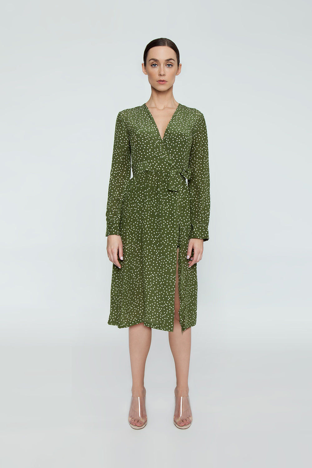 ADRIANA DEGREAS Silk Crepe De Chine Long Cross Front Dress With Shorts - Mille Punti Green Dot Print Dress | Mille Punti Green Dot Print| Adriana Degreas Silk Crepe De Chine Long Cross Front Dress With Shorts - Mille Punti Green Dot Print Long sleeve maxi dress  Wrap style  Shorts included Front View