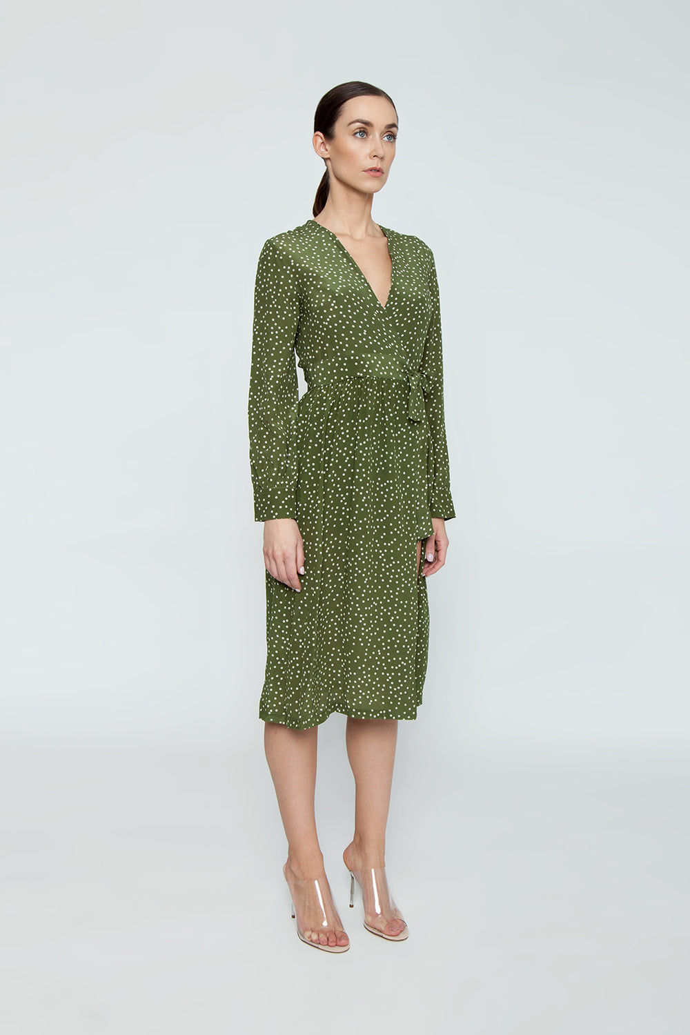 ADRIANA DEGREAS Silk Crepe De Chine Long Cross Front Dress With Shorts - Mille Punti Green Dot Print Dress | Mille Punti Green Dot Print| Adriana Degreas Silk Crepe De Chine Long Cross Front Dress With Shorts - Mille Punti Green Dot Print Long sleeve maxi dress  Wrap style  Shorts included Side View