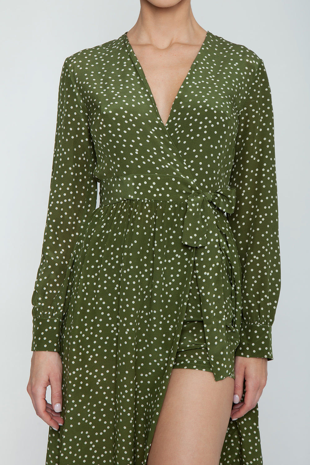 ADRIANA DEGREAS Silk Crepe De Chine Long Cross Front Dress With Shorts - Mille Punti Green Dot Print Dress | Mille Punti Green Dot Print| Adriana Degreas Silk Crepe De Chine Long Cross Front Dress With Shorts - Mille Punti Green Dot Print Long sleeve maxi dress  Wrap style  Shorts included Detail View