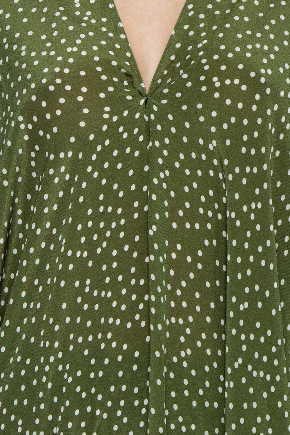 ADRIANA DEGREAS Silk Crepe De Chine Long Kaftan - Mille Punti Green Dot Print Cover Up | Mille Punti Green Dot Print| Adriana Degreas Silk Crepe De Chine Long Kaftan - Mille Punti Green Dot Print Long kaftan V neckline  Flowy sleeves  Cut out back detail  Detail View