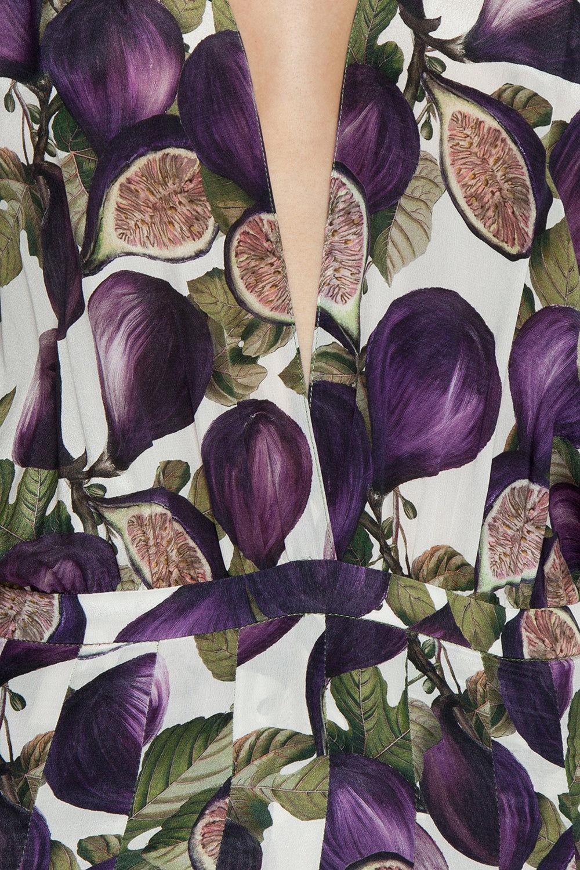 ADRIANA DEGREAS Midi Pleated Dress - Fig Purple Print Dress | Fig Purple Print| Adriana Degreas Midi Pleated Dress - Fig Purple Print Features:  Plunging v neckline Midi length dress Loose sleeves Banded waist Pleated skirt detail  Frill hem  Detail View