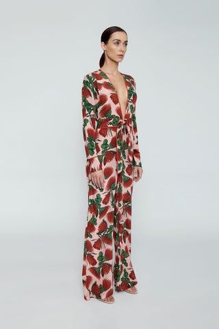 ADRIANA DEGREAS Silk Crepe De Chine Knot Detail Jumpsuit - Fiore Rose Print Jumpsuit | Fiore Rose Print|Adriana Degreas Silk Crepe De Chine Knot Detail Jumpsuit - Fiore Rose Print  Long sleeve jumpsuit Plunging neckline  Front tie detail  Wide leg pants Side View