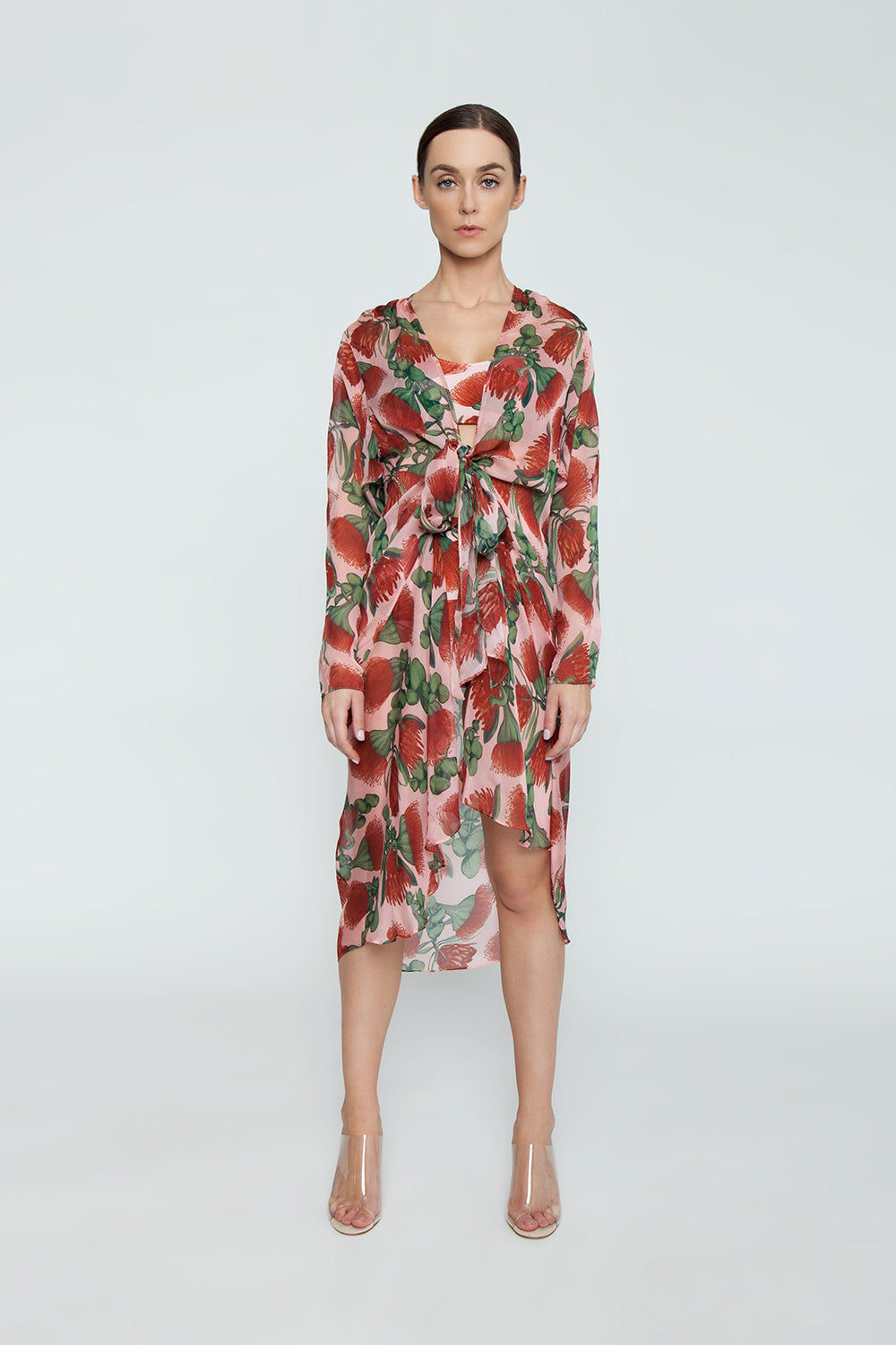 ADRIANA DEGREAS Silk Muslin Long Robe Cover-Up - Fiore Rose Print Cover Up | Fiore Rose Print| Adriana Degreas Silk Muslin Long Robe - Fiore Rose Print Long sleeve robe  Front View