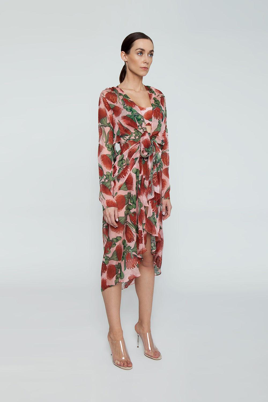 ADRIANA DEGREAS Silk Muslin Long Robe Cover-Up - Fiore Rose Print Cover Up | Fiore Rose Print| Adriana Degreas Silk Muslin Long Robe - Fiore Rose Print Long sleeve robe  Side View
