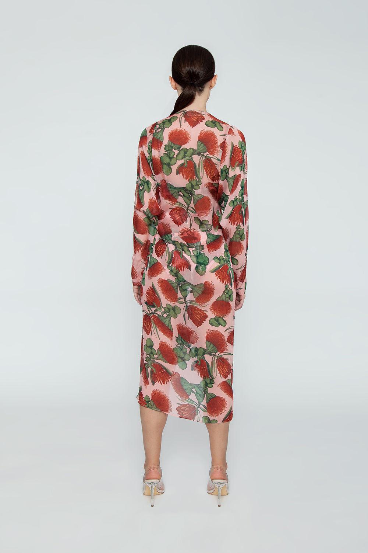 ADRIANA DEGREAS Silk Muslin Long Robe Cover-Up - Fiore Rose Print Cover Up | Fiore Rose Print| Adriana Degreas Silk Muslin Long Robe - Fiore Rose Print Long sleeve robe  Back View