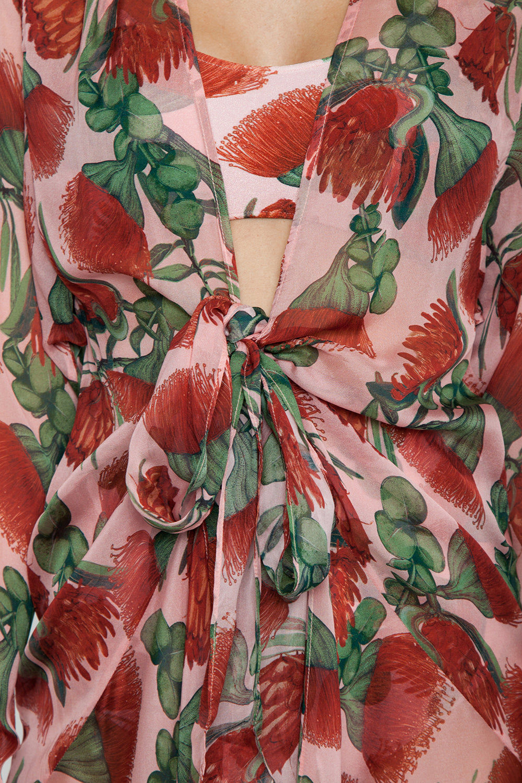 ADRIANA DEGREAS Silk Muslin Long Robe Cover-Up - Fiore Rose Print Cover Up | Fiore Rose Print| Adriana Degreas Silk Muslin Long Robe - Fiore Rose Print Long sleeve robe  Detail View