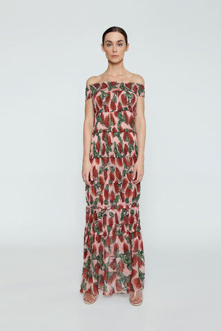 ADRIANA DEGREAS Off The Shoulder Tier Long Dress - Fiore Rose Print Dress | Fiore Rose Print| Adriana Degreas Off The Shoulder Tier Long Dress - Fiore Rose Print Maxi dress Smocked off shoulder  Ruffle tier detail  Front View