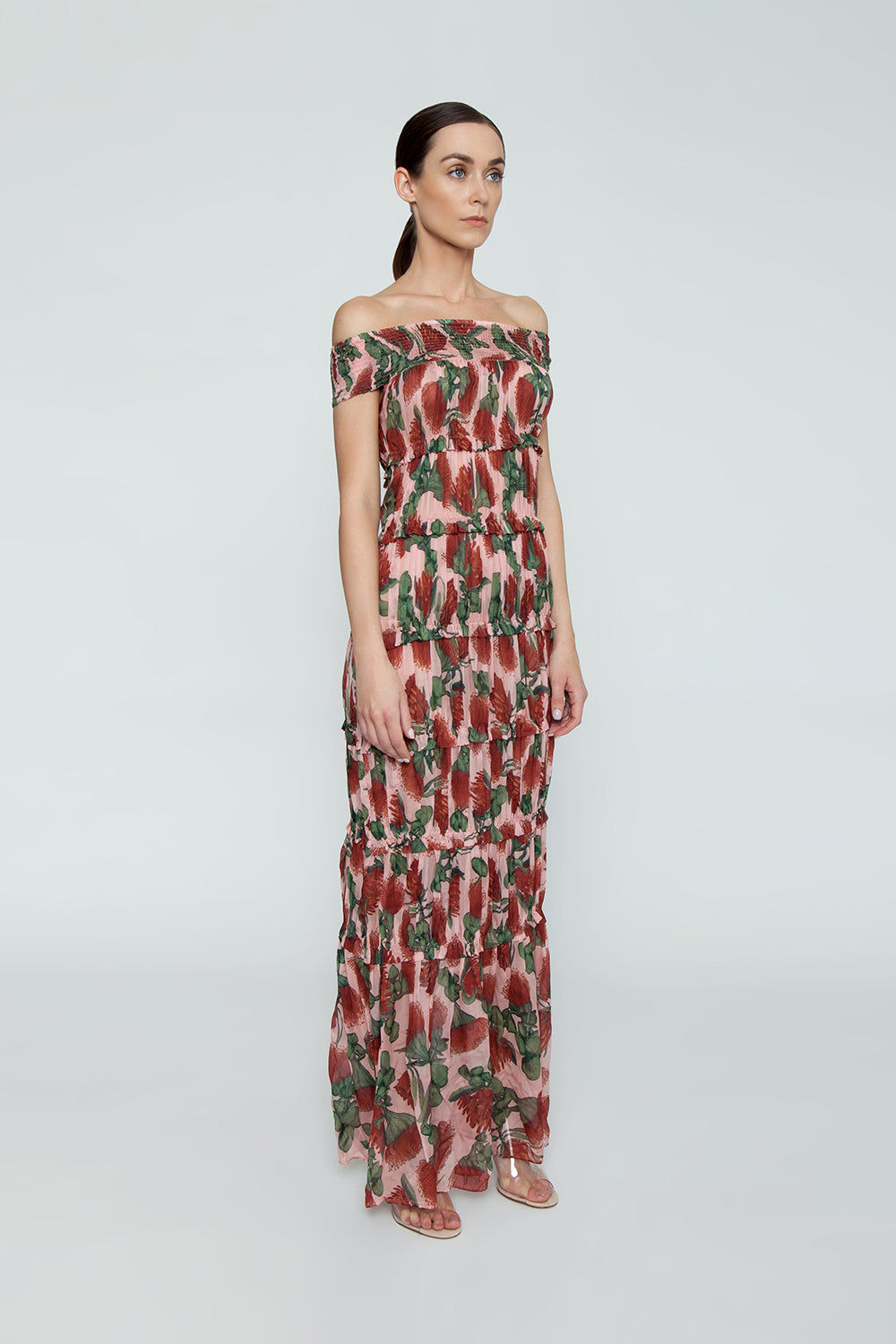 ADRIANA DEGREAS Off The Shoulder Tier Long Dress - Fiore Rose Print Dress | Fiore Rose Print| Adriana Degreas Off The Shoulder Tier Long Dress - Fiore Rose Print Maxi dress Smocked off shoulder  Ruffle tier detail  Side View