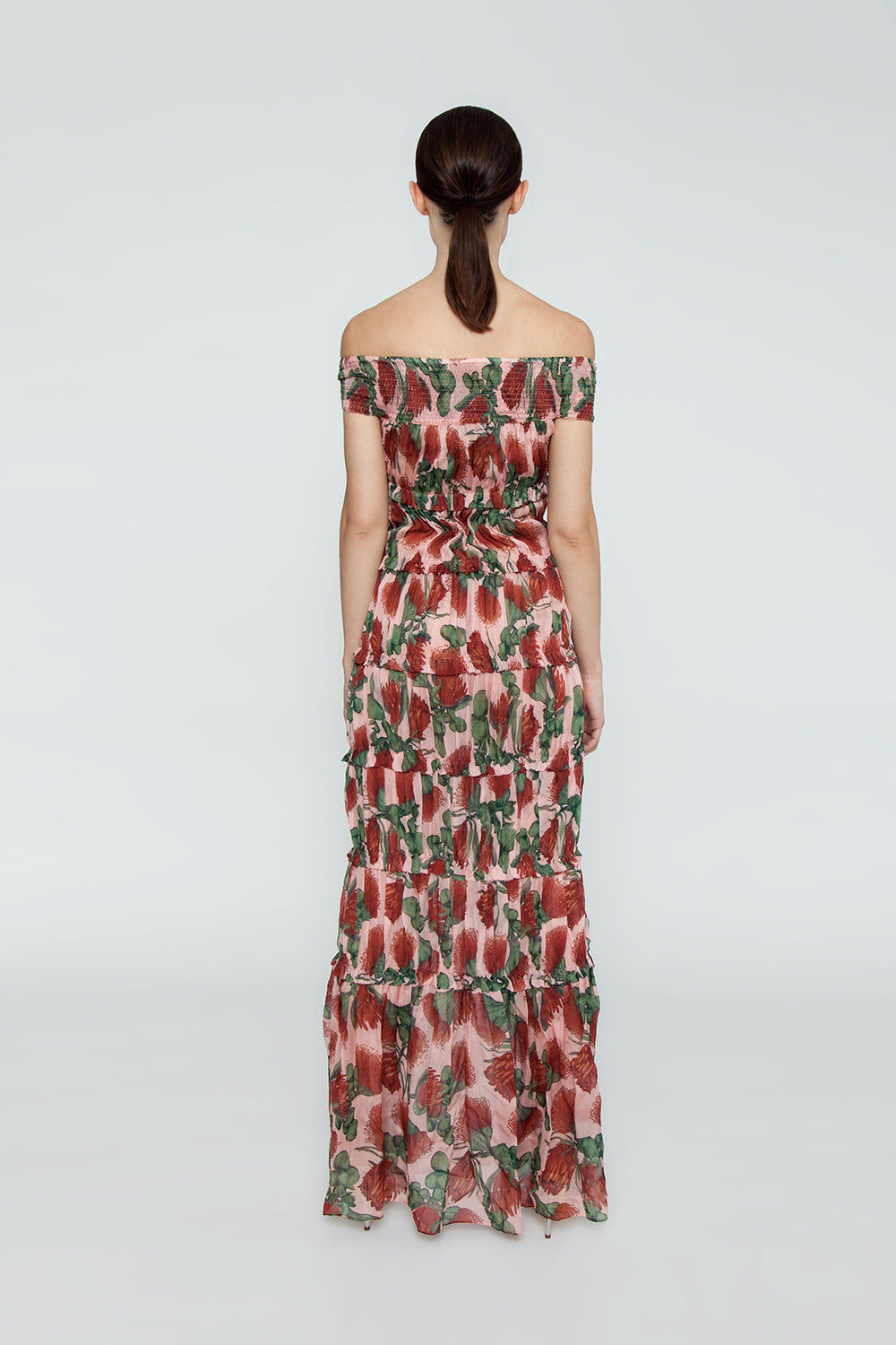 ADRIANA DEGREAS Off The Shoulder Tier Long Dress - Fiore Rose Print Dress | Fiore Rose Print| Adriana Degreas Off The Shoulder Tier Long Dress - Fiore Rose Print Maxi dress Smocked off shoulder  Ruffle tier detail  Back View