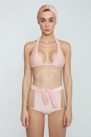 ADRIANA DEGREAS Hot Color Block High Waist Belted Bikini Bottom - Light Pink/Mesh Bikini Bottom | Light Pink/Mesh| Adriana Degreas Hot Color Block High Waist Belted Bikini Bottom - Light Pink/Mesh High waist bikini bottom  Self tie waist  Moderate to full coverage  Front View