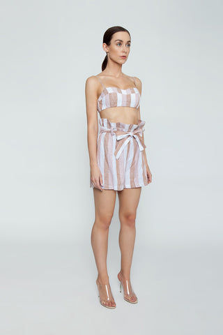 ADRIANA DEGREAS Striped Clochard Shorts - Porto Rose Stripe Print Shorts | Porto Rose Stripe Print| Adriana Degreas Striped Clochard Shorts - Porto Rose Stripe Print. Features:  Adjustable waist tie Relaxed fit Side pockets Main: 100% Cotton Side View
