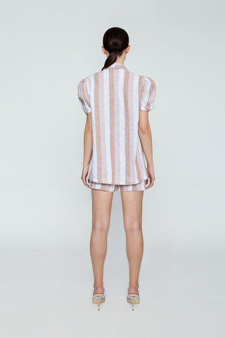 ADRIANA DEGREAS Striped Over Cover Up - Porto Rose Stripe Print Cover Up | Porto Rose Stripe Print| Adriana Degreas Striped Over Cover Up - Porto Rose Stripe Print. Features:  Bell short sleeves Front pockets Main: 100% Cotton. Back View