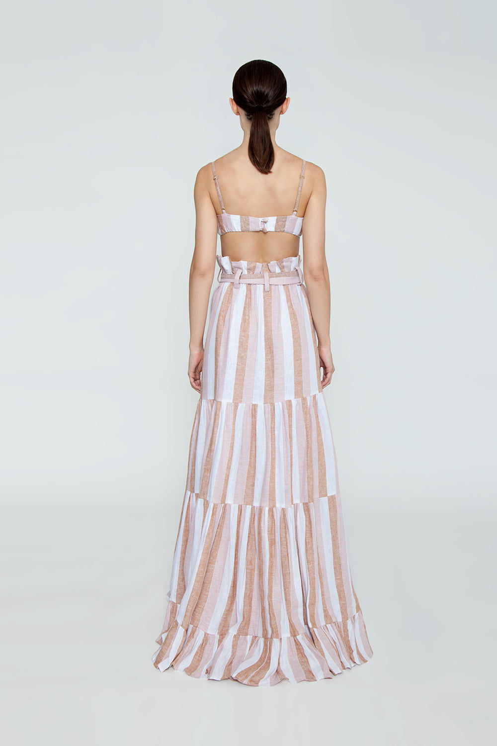 ADRIANA DEGREAS Striped Clochard Long Skirt - Porto Rose Stripe Print Skirt | Porto Rose Stripe Print| Adriana Degreas Striped Clochard Long Skirt - Porto Rose Stripe Print. Features:  high waisted skirt Cut from linen Main: 100% Cotton Back View