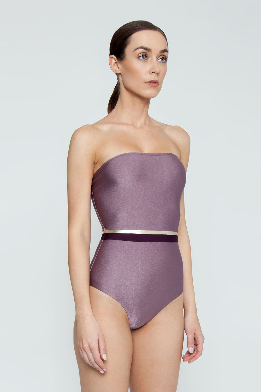 ADRIANA DEGREAS Strapless One Piece Swimsuit - Tricolor Lilac/Purple/Gold One Piece | Tricolor Lilac/Purple/Gold| Adriana Degreas Tricolor Strapless One Piece Swimsuit - Lilac/Purple/Gold Strapless one piece  Metallic tricolor center band detail  Full coverage Side View