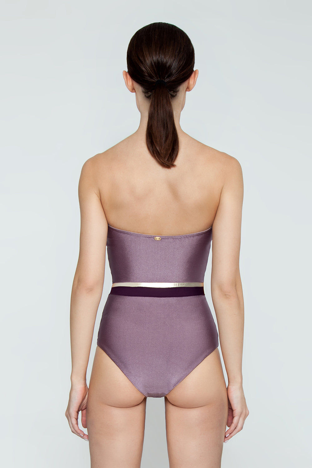 ADRIANA DEGREAS Strapless One Piece Swimsuit - Tricolor Lilac/Purple/Gold One Piece | Tricolor Lilac/Purple/Gold| Adriana Degreas Tricolor Strapless One Piece Swimsuit - Lilac/Purple/Gold Strapless one piece  Metallic tricolor center band detail  Full coverage Back View
