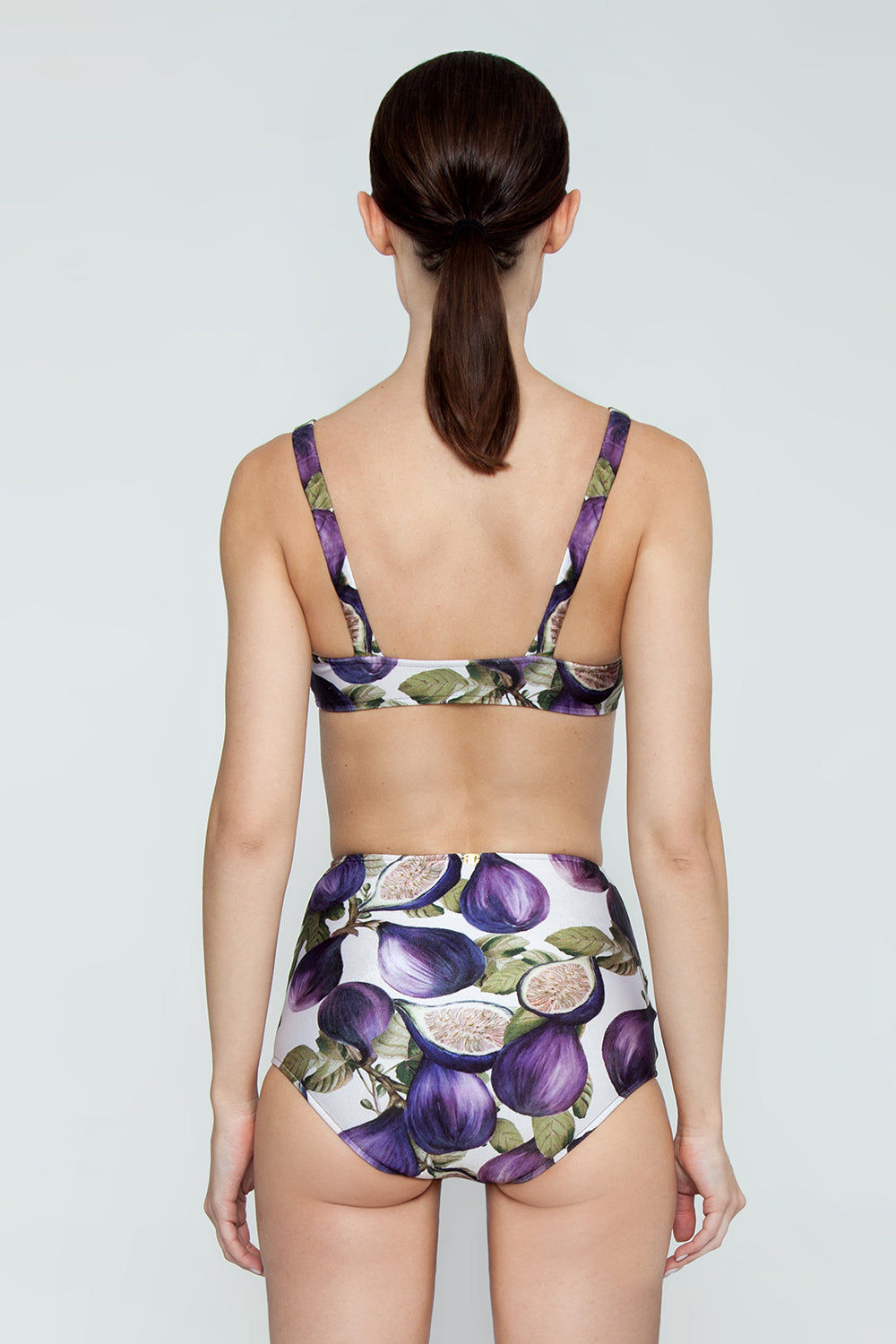 ADRIANA DEGREAS Knot Front Bikini Top - Fig Purple Print Bikini Top | Fig Purple Print| Adriana Degreas Knot Front Bikini Top - Fig Purple Print Scoop neckline Bralette style Knot front detail  Thick shoulder straps Back View