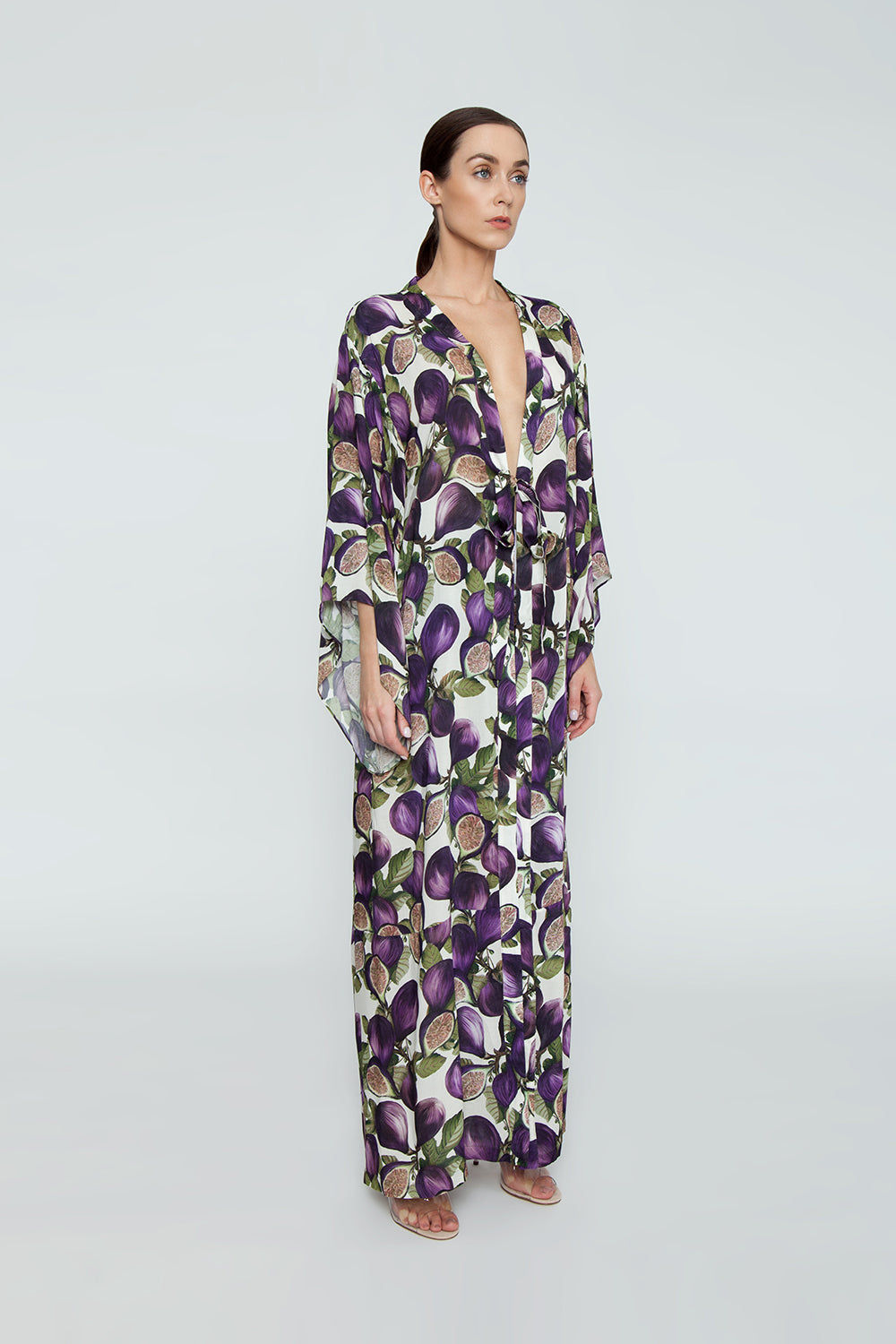 ADRIANA DEGREAS Silk Long Robe Cover-Up - Fig Purple Print Cover Up | Fig Purple Print|Adriana Degreas Long Robe - Fig Purple Print   Long sleeve robe Floor length robe Tie waist detail  Side View