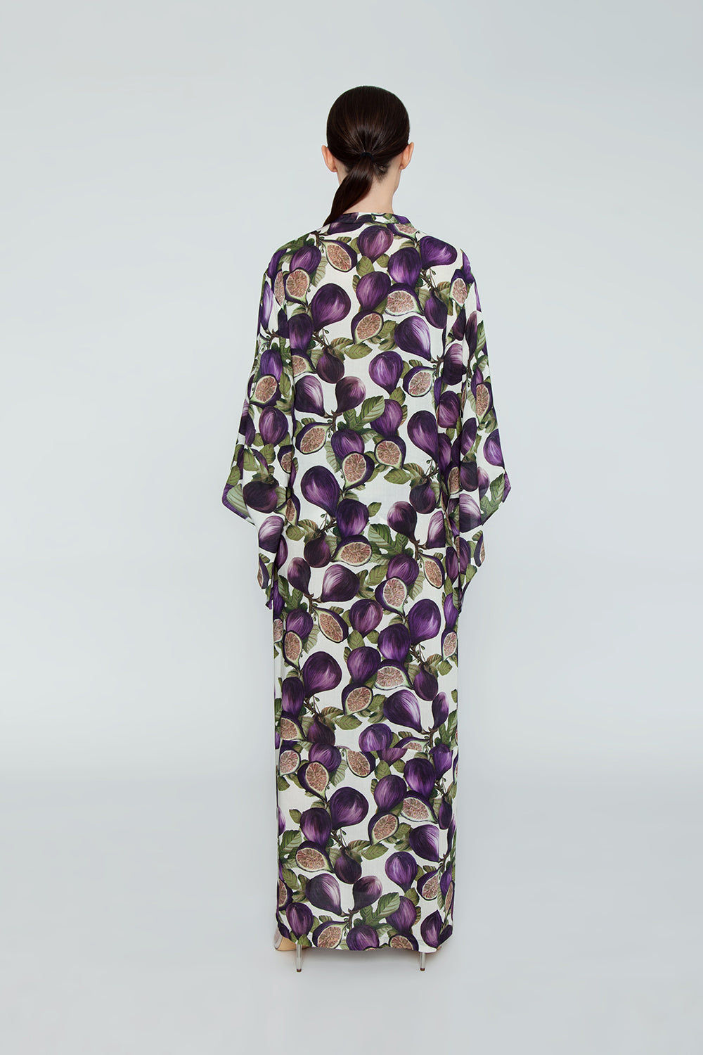 ADRIANA DEGREAS Silk Long Robe Cover-Up - Fig Purple Print Cover Up | Fig Purple Print|Adriana Degreas Long Robe - Fig Purple Print   Long sleeve robe Floor length robe Tie waist detail  Back View