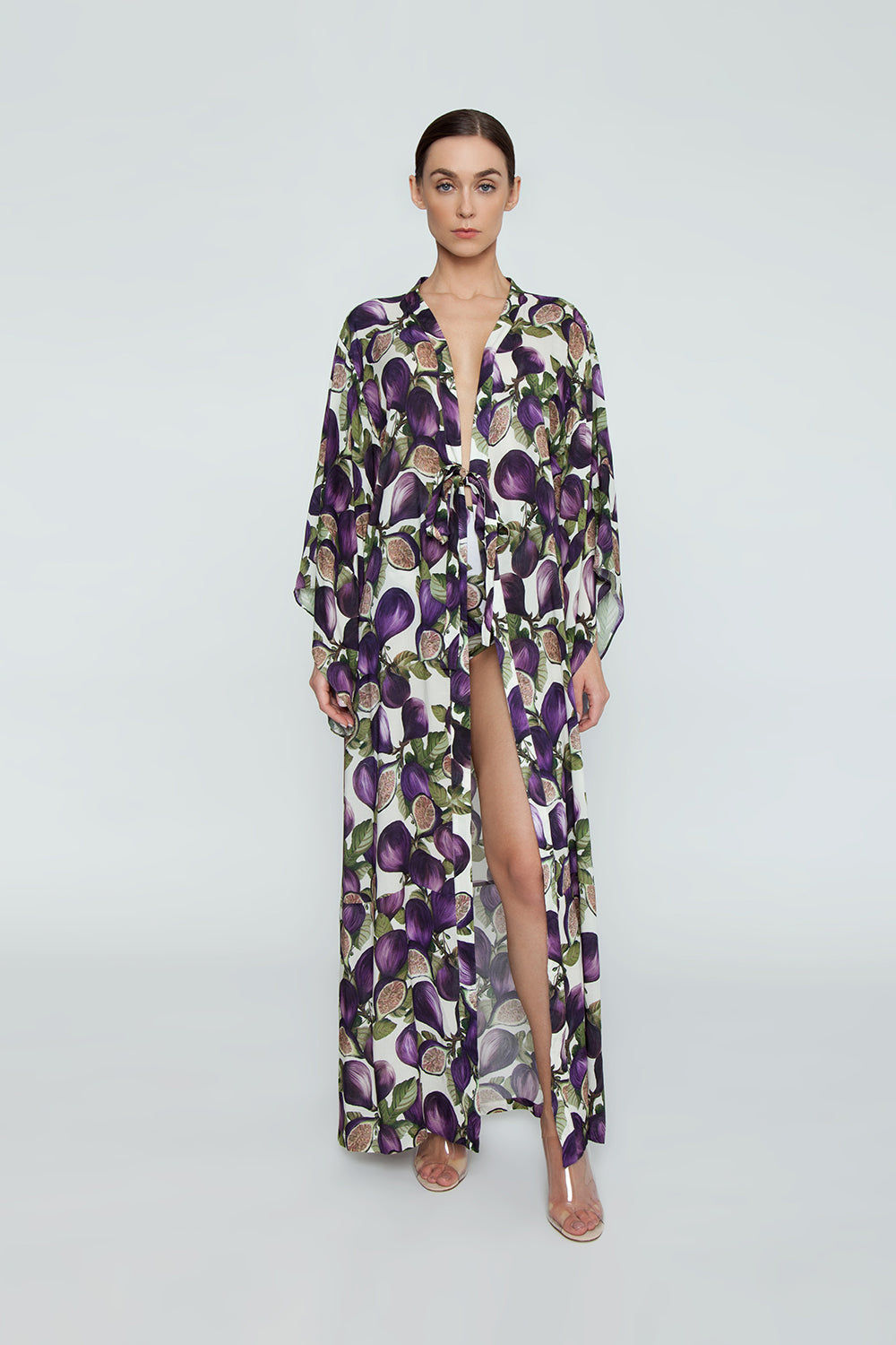 ADRIANA DEGREAS Silk Long Robe Cover-Up - Fig Purple Print Cover Up | Fig Purple Print|Adriana Degreas Long Robe - Fig Purple Print   Long sleeve robe Floor length robe Tie waist detail  Front View