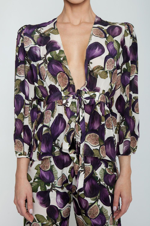 ADRIANA DEGREAS Silk Crepe De Chine Wide Leg Pants - Fig Purple Print Pants | Fig Purple Print| Adriana Degreas Silk Crepe De Chine Wide Leg Pants - Fig Purple Print  Wide leg pants High waist Detail View