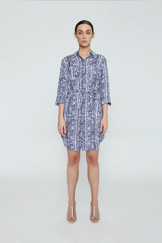 HEIDI KLEIN Relaxed Shirt Dress - Blue Animal Print Dress | Blue Animal Print| Heidi Klein Relaxed Shirt Dress - Blue Animal Print. Features:  A rounded hem that dips at the back and a drawstring for an adjustable fit and a flattering silhouette. Neat fitting on the shoulders with slightly shaped side seams.   Sleeves can be worn long or tacked up with sleeve tabs for versatility. Front View