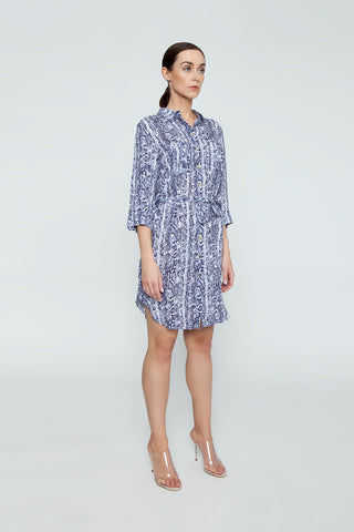 HEIDI KLEIN Relaxed Shirt Dress - Blue Animal Print Dress | Blue Animal Print| Heidi Klein Relaxed Shirt Dress - Blue Animal Print. Features:  A rounded hem that dips at the back and a drawstring for an adjustable fit and a flattering silhouette. Neat fitting on the shoulders with slightly shaped side seams.   Sleeves can be worn long or tacked up with sleeve tabs for versatility. Side View