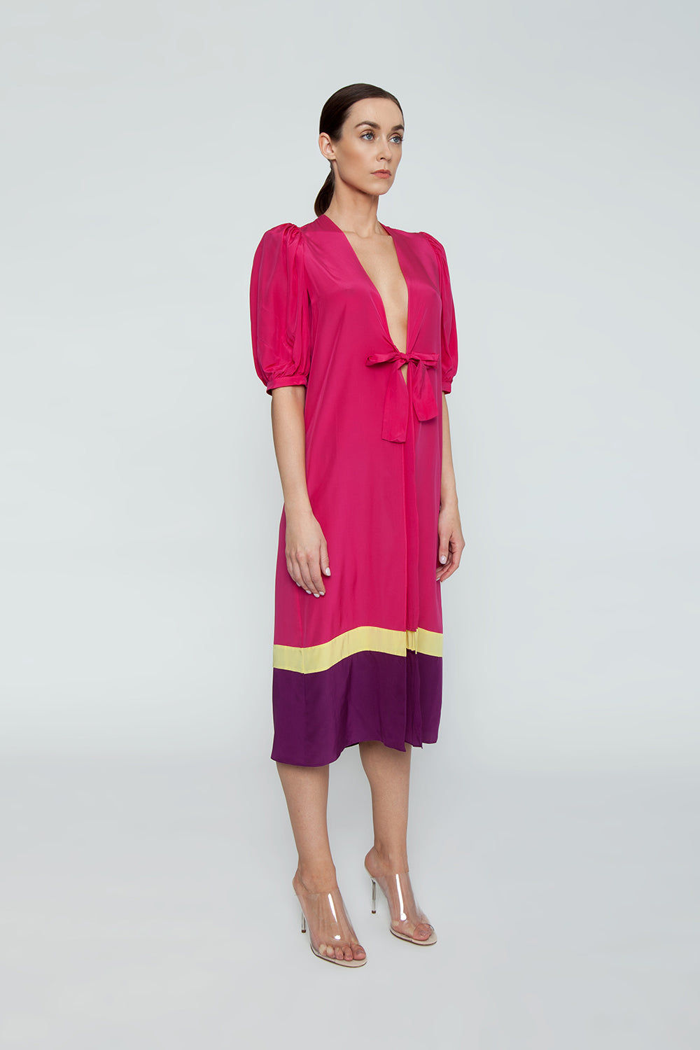 ADRIANA DEGREAS Silk Crepe De Chine Tricolor Midi Robe - Hot Pink/Citronelle/Purple Cover Up | Hot Pink/Citronelle/Purple| Adriana Degreas Silk Crepe De Chine Tricolor Midi Robe - Hot Pink/Citronelle/Purple. Features: Features:  Lightweight silk robe Designed for a cool, breezy feel Midi silk robe with long sleeve and gathered cuffs Waist tie to define the silhouette Unlined Main: 100% silk. Side View
