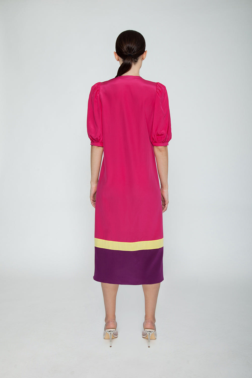 ADRIANA DEGREAS Silk Crepe De Chine Tricolor Midi Robe - Hot Pink/Citronelle/Purple Cover Up | Hot Pink/Citronelle/Purple| Adriana Degreas Silk Crepe De Chine Tricolor Midi Robe - Hot Pink/Citronelle/Purple. Features: Features:  Lightweight silk robe Designed for a cool, breezy feel Midi silk robe with long sleeve and gathered cuffs Waist tie to define the silhouette Unlined Main: 100% silk. Back View