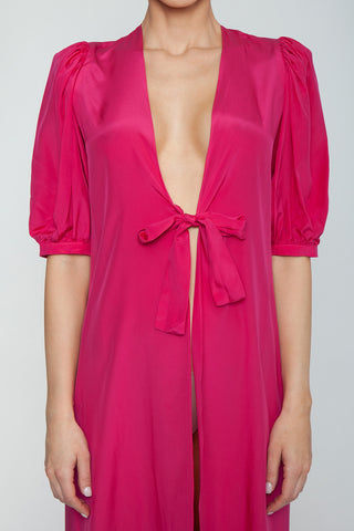 ADRIANA DEGREAS Silk Crepe De Chine Tricolor Midi Robe - Hot Pink/Citronelle/Purple Cover Up | Hot Pink/Citronelle/Purple| Adriana Degreas Silk Crepe De Chine Tricolor Midi Robe - Hot Pink/Citronelle/Purple. Features: Features:  Lightweight silk robe Designed for a cool, breezy feel Midi silk robe with long sleeve and gathered cuffs Waist tie to define the silhouette Unlined Main: 100% silk. Detail View