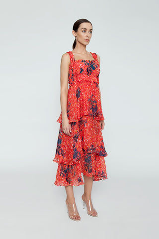 CLUBE BOSSA Zelza Ruffle Midi Dress - Fleur Red Print Dress | Fleur Red Print| CLUBE BOSSA Zelza Ruffle Midi Dress - Fleur Red Print. Features:  Square neckline Ruffle details Elastic waistband Side View