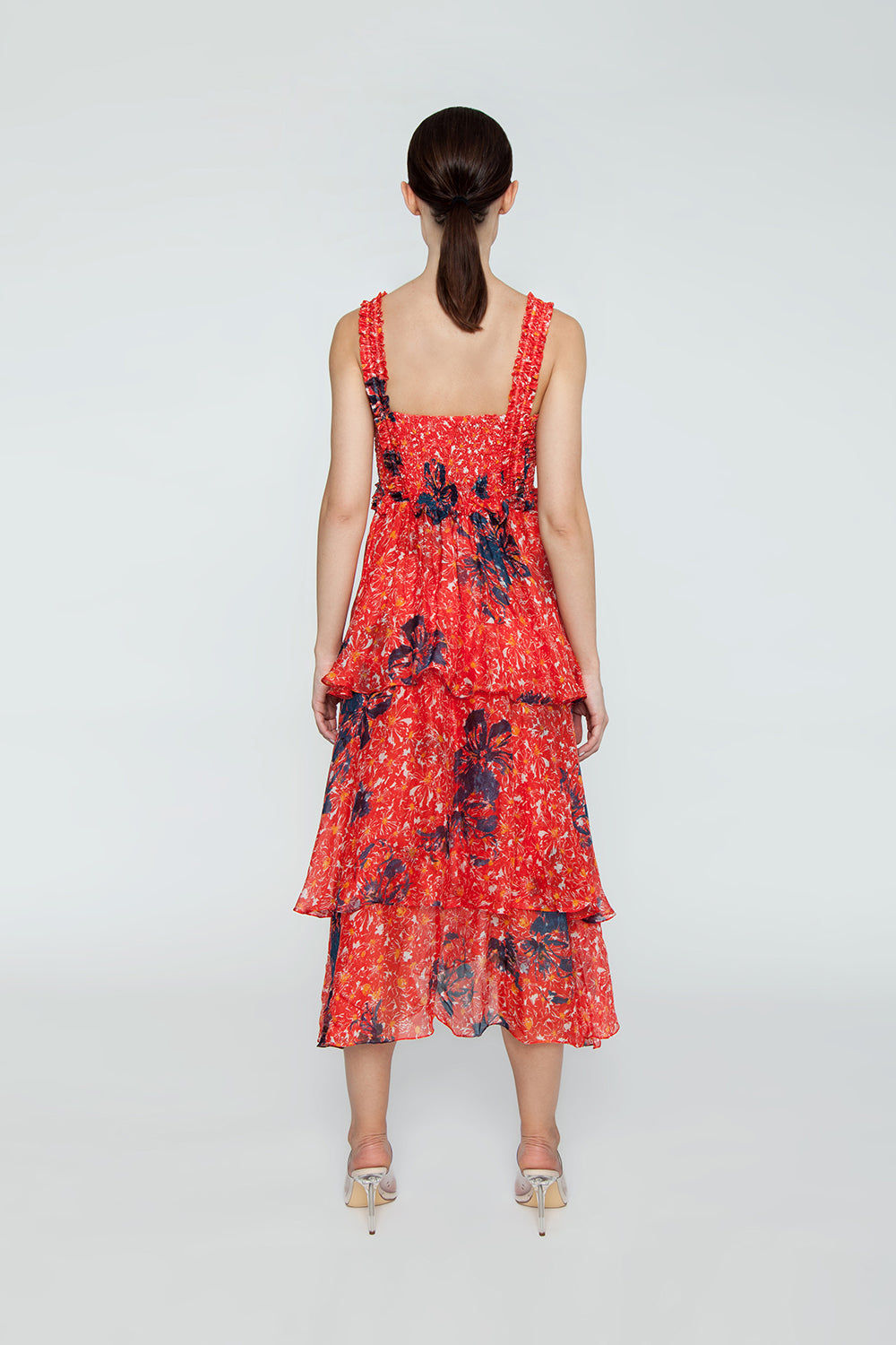 CLUBE BOSSA Zelza Ruffle Midi Dress - Fleur Red Print Dress | Fleur Red Print| CLUBE BOSSA Zelza Ruffle Midi Dress - Fleur Red Print. Features:  Square neckline Ruffle details Elastic waistband Back View