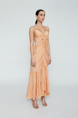 CLUBE BOSSA De Niro Drawstring Long Dress - Peach Dress | Peach| Clube Bossa De Niro Drawstring Long Dress - Peach Features:  V neckline  Thin shoulder straps  Drawstring front scrunch tie closure  Ruffle tier detail  Side View