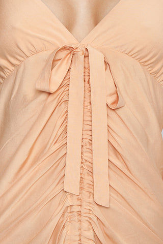 CLUBE BOSSA De Niro Drawstring Long Dress - Peach Dress | Peach| Clube Bossa De Niro Drawstring Long Dress - Peach Features:  V neckline  Thin shoulder straps  Drawstring front scrunch tie closure  Ruffle tier detail  Detail View