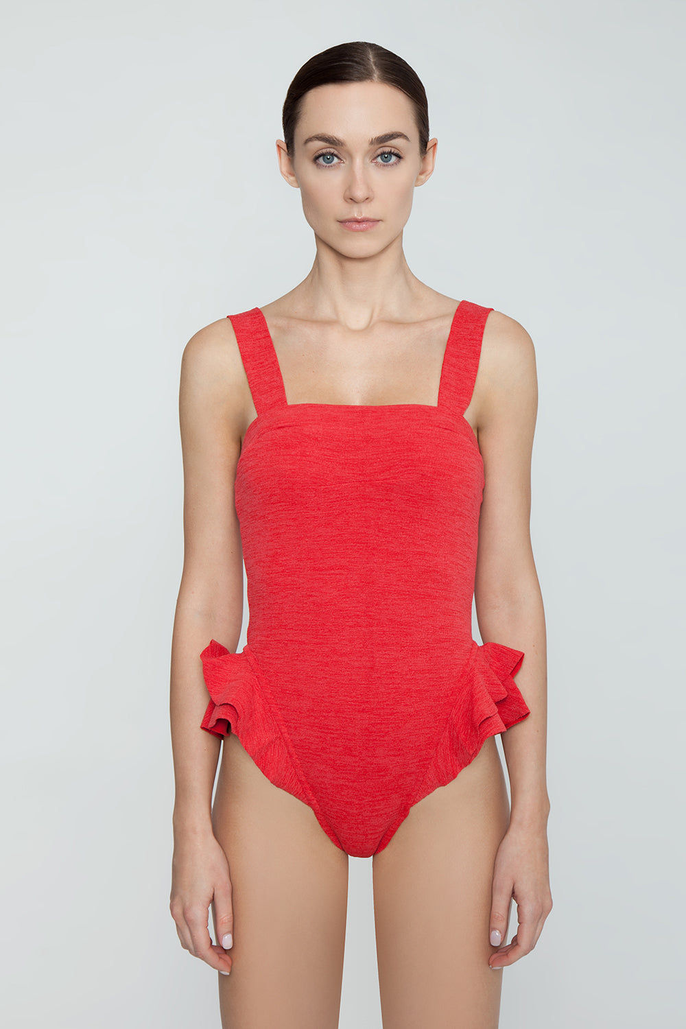 CLUBE BOSSA Barres Ruffle One Piece Swimsuit - Pepper Red One Piece | Pepper Red| Clube Bossa Barres Ruffle One Piece Swimsuit - Pepper Red  Square neckline  Thick shoulder straps Side ruffle detail at leg opening  High cut leg   Cheeky-moderate coverage Front View