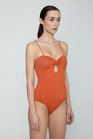 CLUBE BOSSA Dorle Weaving Sweetheart One Piece Swimsuit - Ginger Orange One Piece | Ginger Orange| Clube Bossa Dorle Weaving Sweetheart One Piece Swimsuit - Ginger Orange. Features: Sweetheart neckline Keyhole front Solid orange fabric Side View