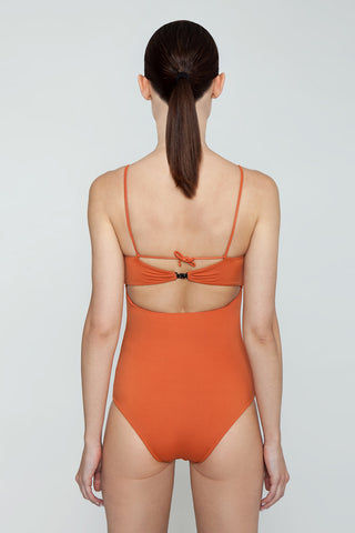 CLUBE BOSSA Dorle Weaving Sweetheart One Piece Swimsuit - Ginger Orange One Piece | Ginger Orange| Clube Bossa Dorle Weaving Sweetheart One Piece Swimsuit - Ginger Orange. Features: Sweetheart neckline Keyhole front Solid orange fabric Back View
