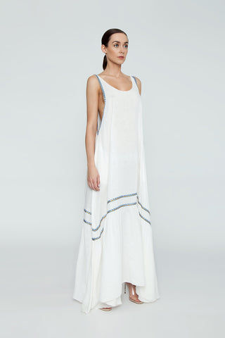 CLUBE BOSSA Bellevue Embroidered Maxi Dress - La Latina White Dress | La Latina White| Clube Bossa Bellevue Embroidered Maxi Dress - La Latina WhiteFeatures:  White Scoop neck long dress Spaghetti Straps Sleeveless design Side View