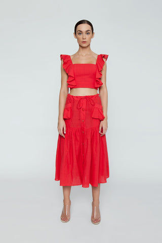 CLUBE BOSSA Fara High Waist Midi Skirt - Pepper Red Skirt | Pepper Red| Clube Bossa Fara High Waist Midi Skirt - Pepper Red. Features:  Midi red skirt Mid rise Drawstring waist Side pockets Front button fastening Ruched detail Loose fit Front View