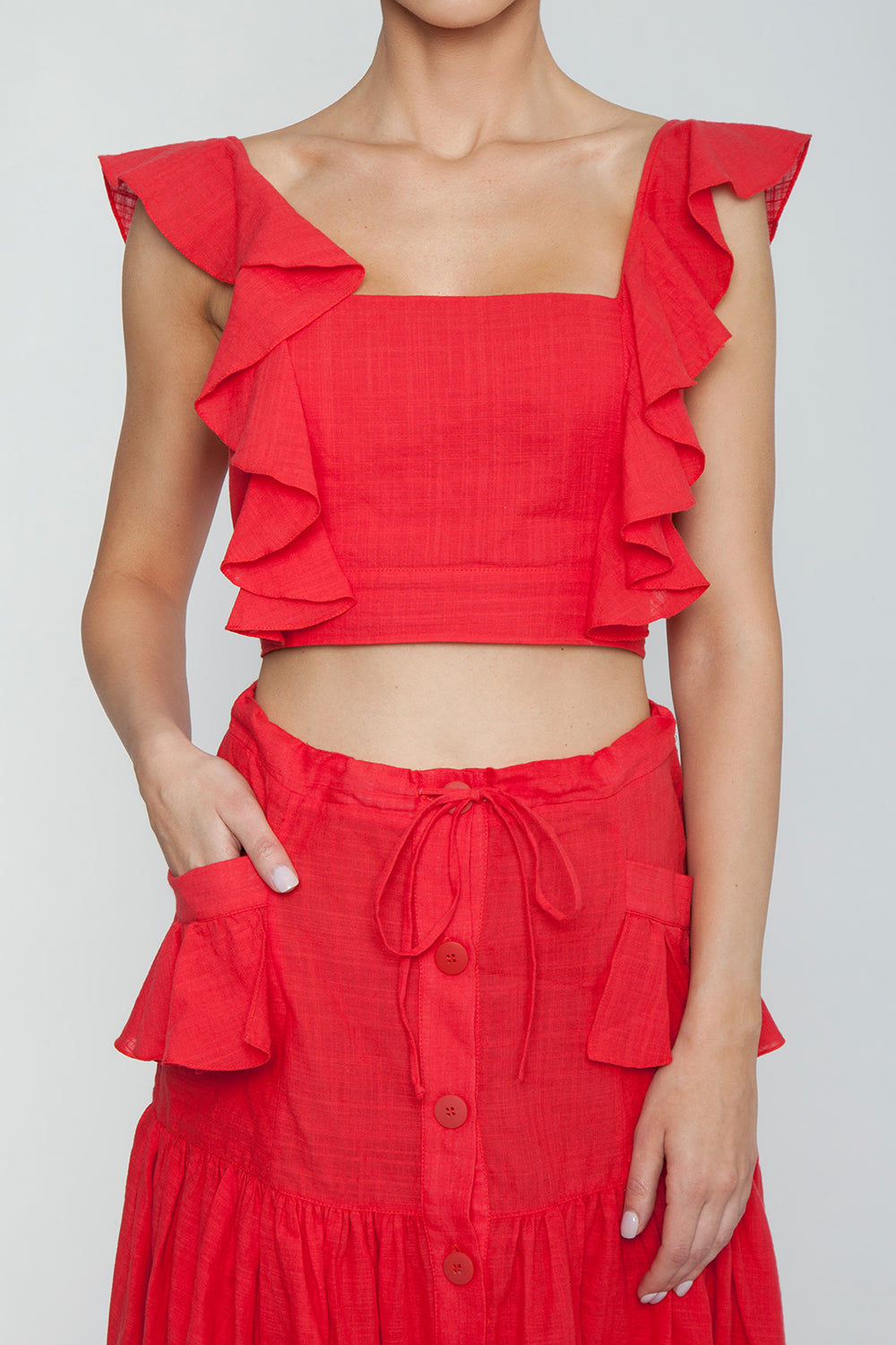 CLUBE BOSSA Lubba Cropped Blouse - Pepper Red Top | Pepper Red| Clube Bossa Lubba Cropped Blouse - Pepper Red. Features:  Square neckline Ruffle shoulders Back lace-up fastening 100% Cotton Detail View