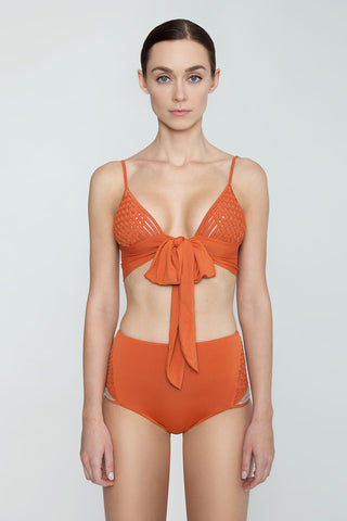 CLUBE BOSSA Havel Weaving High Waist Bikini Bottom - Ginger Orange Bikini Bottom | Ginger Orange| Clube Bossa Havel Weaving High Waist Bikini Bottom - Ginger Orange. Features:  High waist bikini bottom Elasticated waistband Wide waistband Front View