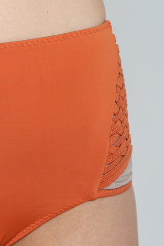 CLUBE BOSSA Havel Weaving High Waist Bikini Bottom - Ginger Orange Bikini Bottom | Ginger Orange| Clube Bossa Havel Weaving High Waist Bikini Bottom - Ginger Orange. Features:  High waist bikini bottom Elasticated waistband Wide waistband Detail View