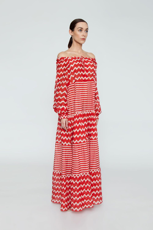 94c045c2d41c2 ... STELLA MCCARTNEY Zig-Zag Cover-Up Maxi Dress - Red/Cream Chevron/ ...