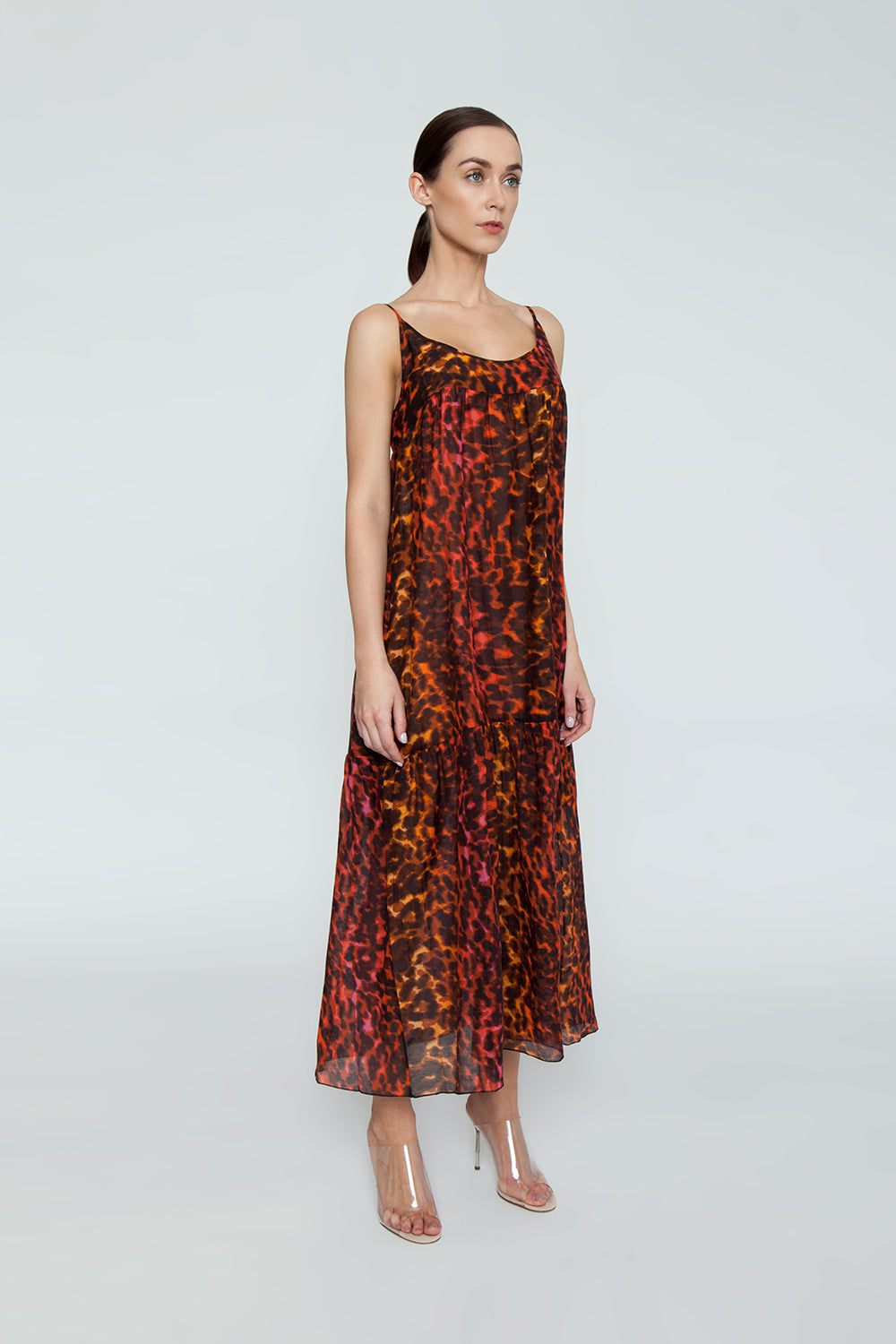 STELLA MCCARTNEY Ballet Spaghetti Strap Cover-Up Maxi Dress - Multicolor Camouflage Print Dress   Multicolor Camouflage Print  Stella McCartney Maxi Dress - Multicolor Camouflage Print Features:  Maxi dress  Scoop neckline Thin straps Ruffle tier detail  Side View
