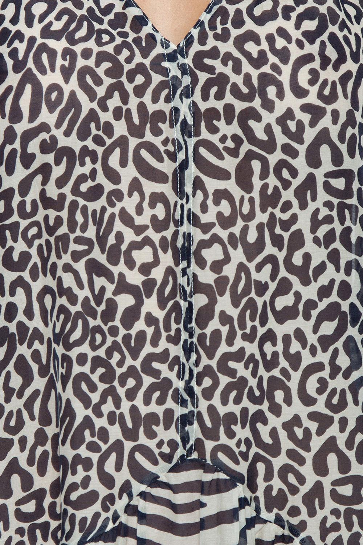 STELLA MCCARTNEY V-Neck Cover-Up Midi Dress - Leopard & Zebra Animal Print Dress   V-Neck Cover-Up Midi Dress - Leopard & Zebra Animal Print