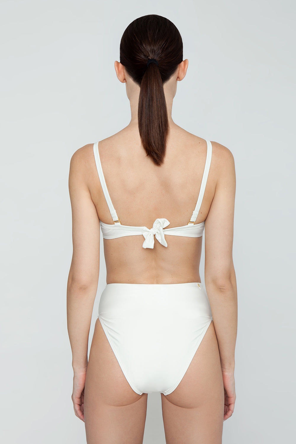 AGUA DE COCO Brazilian High Waist Bikini Bottom - Off White Bikini Bottom | Off White| Agua De Coco Brazilian High Waist Bikini Bottom - Off White White bikini bottom High waist High cut leg Cheeky coverage Back View
